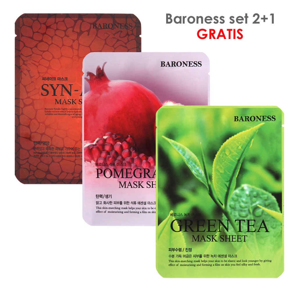 BARONESS SET MASK SHEET syn-ake+nar+green tea 2+1
