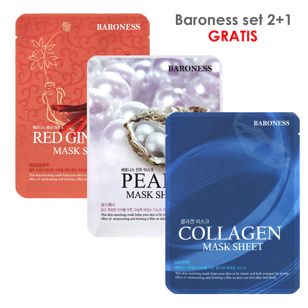 BARONESS SET MASK SHEET ginseng+collagen+pearl 2+1