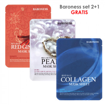 BARONESS SET MASK SHEET ginseng+collagen+pearl 2+1