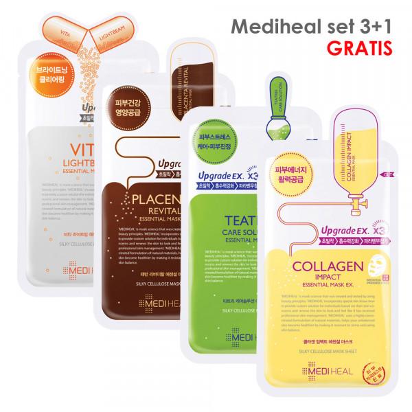 Mediheal Mask Sheet SET 3+1 gratis Collagen+Placenta+Teatree+VitaLightbeam