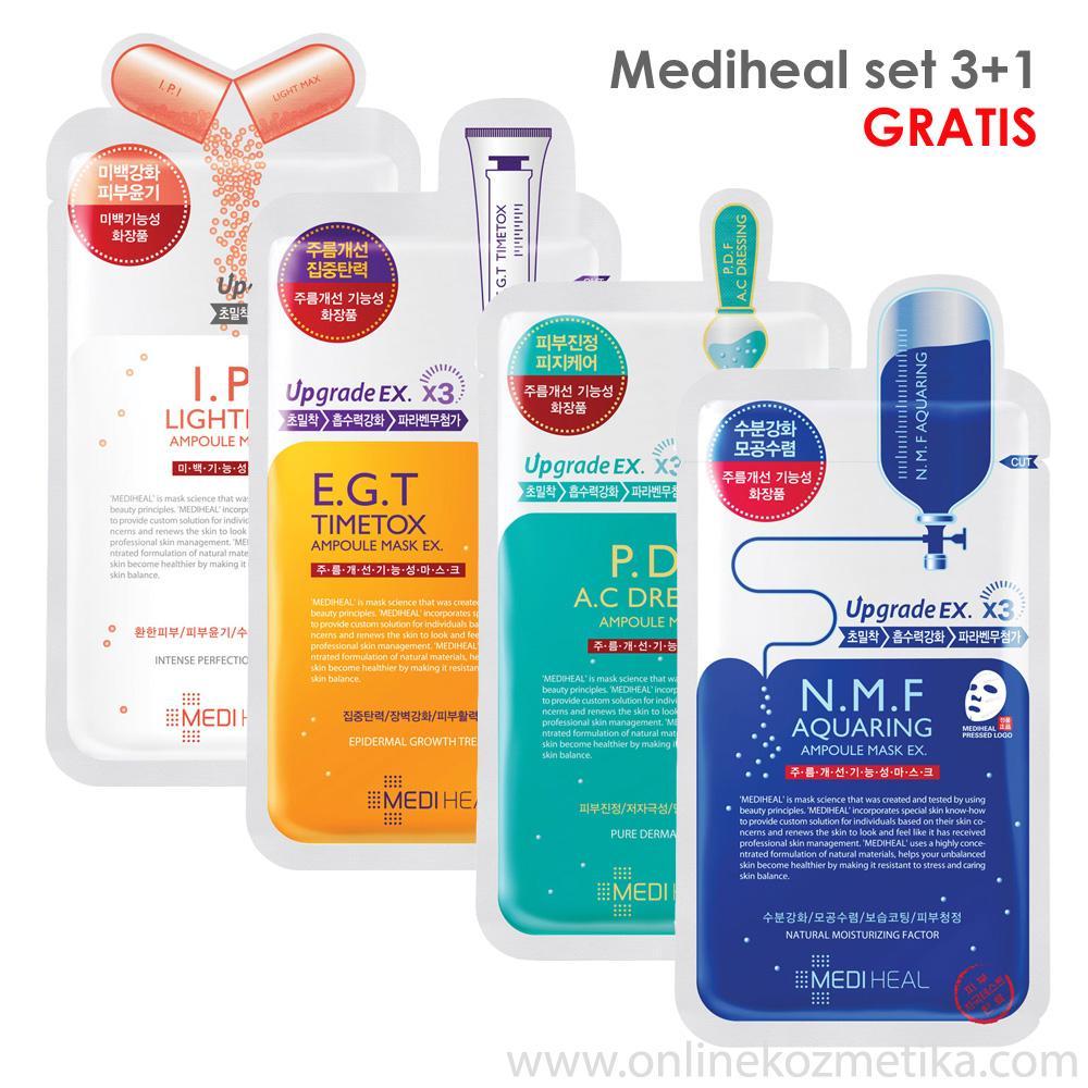 Mediheal Mask Sheet SET 3+1 gratis N.M.F+I.P.I+E.G.T+P.D.F
