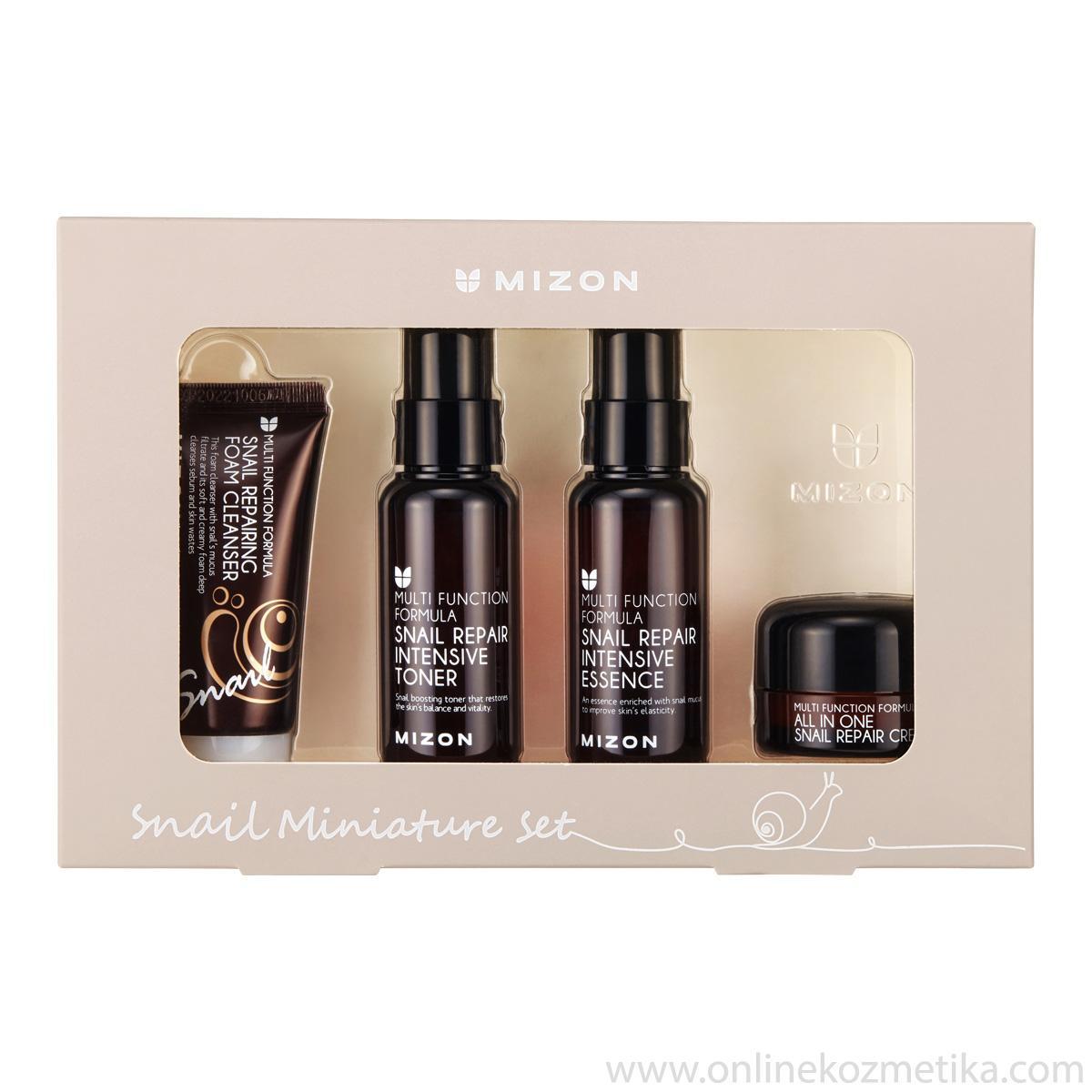 Mizon Snail Miniature Set (Cleanser+Toner+Essence+Cream)